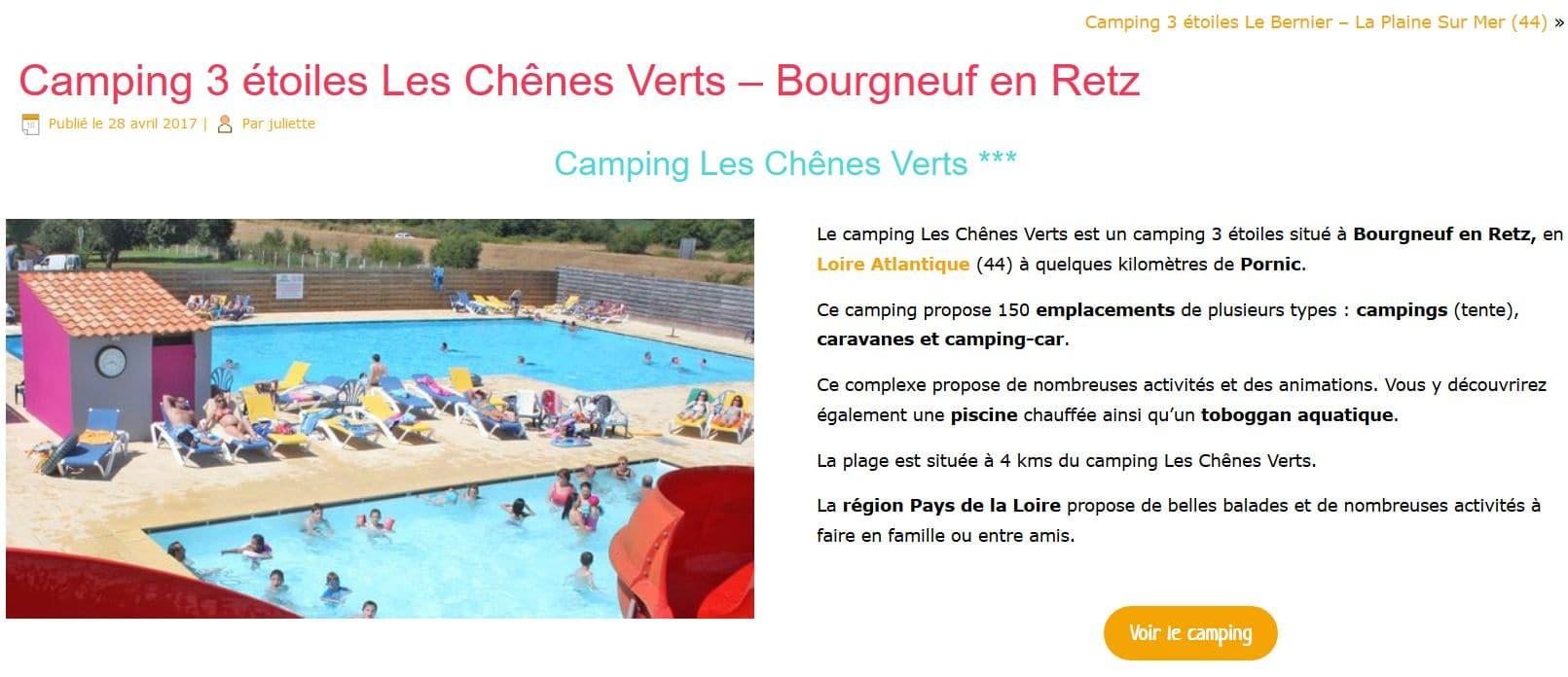selection camping site capture d'écran